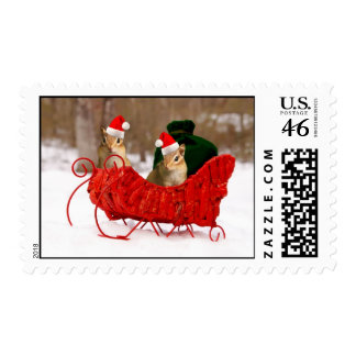 Adorable Santa Baby Chipmunks in Sleigh Postage