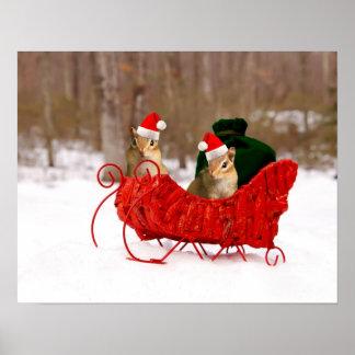 Adorable Santa Baby Chipmunks in Sleigh Poster