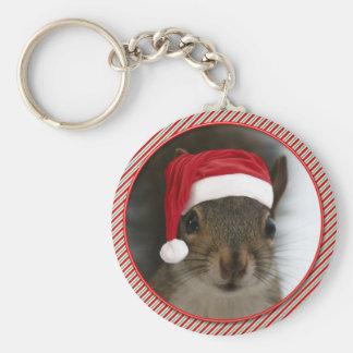 Adorable Santa Squirrel Wearing Santa Claus Hat Keychain