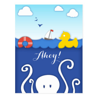 Adorable Sea life Nautical Postcard
