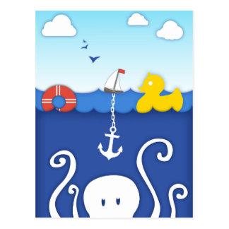 Adorable Sea life Nautical Postcard with Anchor