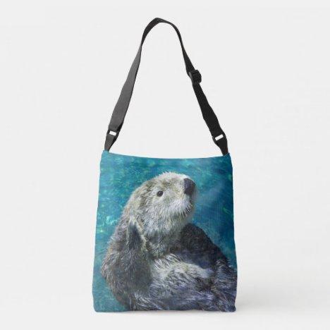 Adorable Sea Otter Cute Blue Water Crossbody Bag