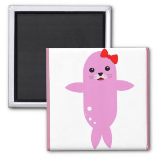Adorable seal red bow magnet