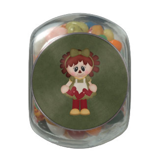 Adorable Sewing Seamstress Country Rag Doll Jelly Belly Candy Jars