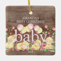 Adorable Sheep Baby's First Christmas Ornament