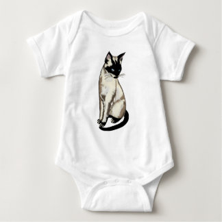 Adorable Siamese Cat Art for Kids Baby Bodysuit
