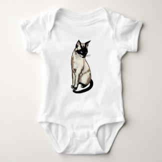 Adorable Siamese Cat Art for Kids Baby Bodysuit