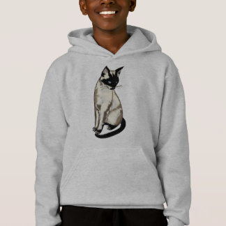 Adorable Siamese Cat Art for Kids Hoodie