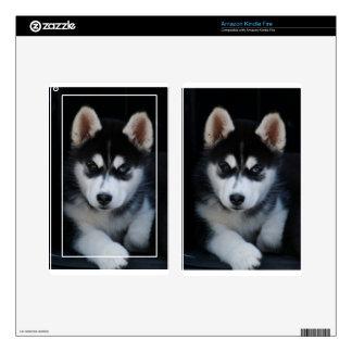 Adorable Siberian Husky Sled Dog Puppy Skins For Kindle Fire