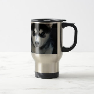 Adorable Siberian Husky Sled Dog Puppy Travel Mug