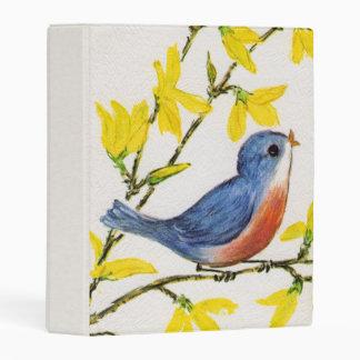 Adorable Singing Blue Red Bird on Branch Flowers Mini Binder