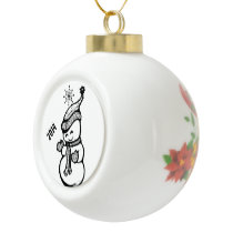 Adorable Single Snowman Dressed for Winter Ceramic Ball Christmas Ornament