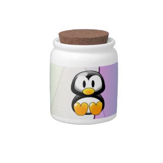 Adorable Sitting Cartoon Penguin Candy Dish