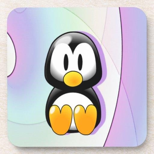 Adorable Sitting Cartoon Penguin Coaster