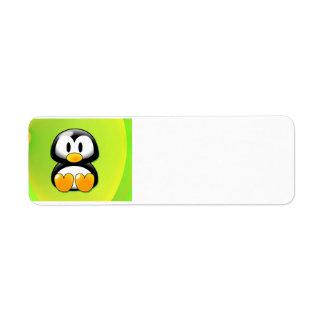 Adorable Sitting Cartoon Penguin Return Address Label
