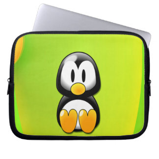 Adorable Sitting Cartoon Penguin Laptop Computer Sleeve