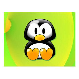 Adorable Sitting Cartoon Penguin Postcard