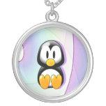 Adorable Sitting Cartoon Penguin Round Pendant Necklace