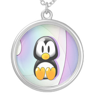 Adorable Sitting Cartoon Penguin Round Pendant Necklace