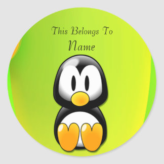 Adorable Sitting Cartoon Penguin Round Stickers