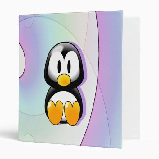 Adorable Sitting Cartoon Penguin Vinyl Binders