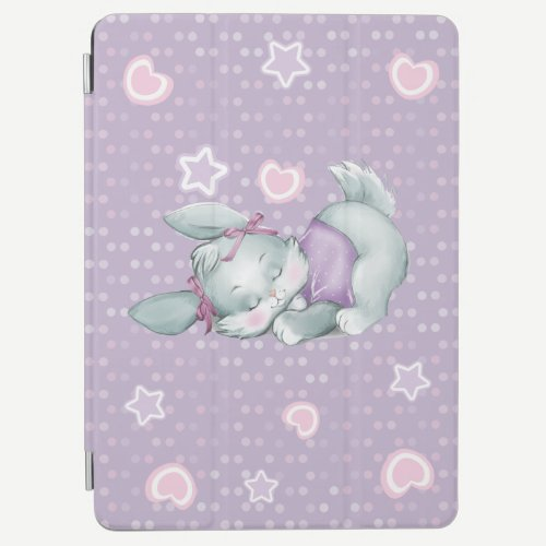 Adorable Sleeping Bunny in pink and purple iPad Air Cover