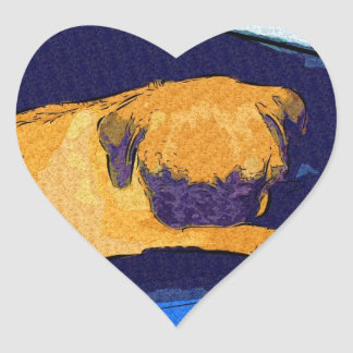 Adorable Sleeping Pug Heart Sticker