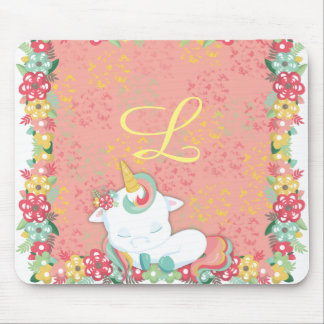 Adorable Sleeping Unicorn and Flowers Monogrammed Mouse Pad