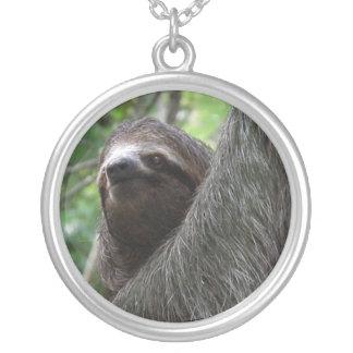 Adorable Sloth Round Pendant Necklace