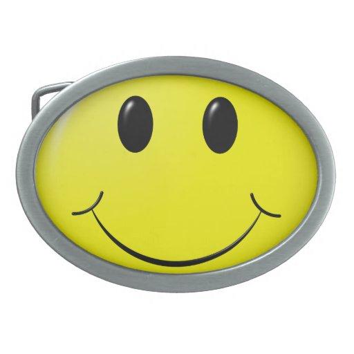 adorable smiley oval belt buckle