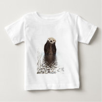 Adorable Smiling Otter in Lake Baby T-Shirt