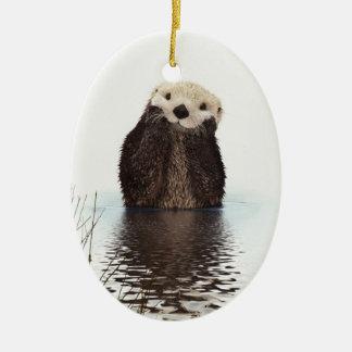 Adorable Smiling Otter in Lake Ceramic Ornament