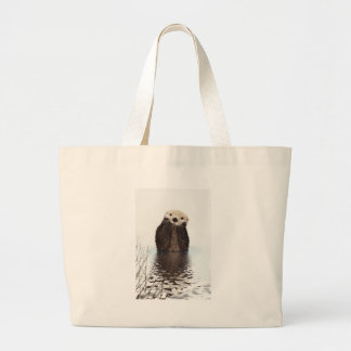 Adorable Smiling Otter in Lake Large Tote Bag