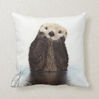 Adorable Smiling Otter in Lake Throw Pillow