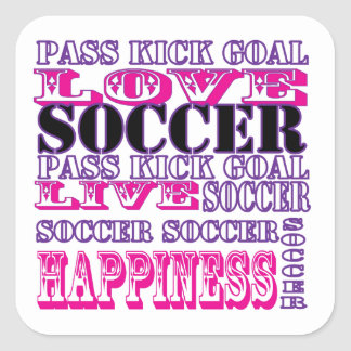 Adorable Soccer Design for Girls Pass Kick Goal Square Sticker