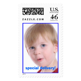 Adorable special delivery photo stamp
