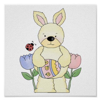 adorable spring easter bunny poster