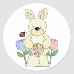 adorable spring easter bunny round sticker