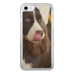 Carved Apple iPhone 7 Wood Case with Springer Spaniel Phone Cases design