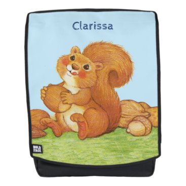 Beach Themed Adorable Squirrel Licking Lips Holding Nuts Acorns Backpack