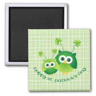 Adorable St. Patrick's Day Owl Tees, Gifts 2 Inch Square Magnet