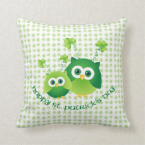 Adorable St. Patrick's Day Owl Tees, Gifts Throw Pillow