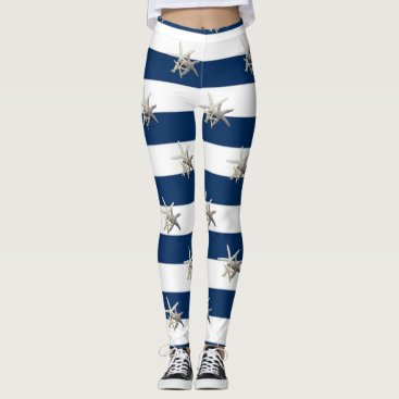 Beach Themed Adorable Starfish ,Navy Blue Stripes Leggings