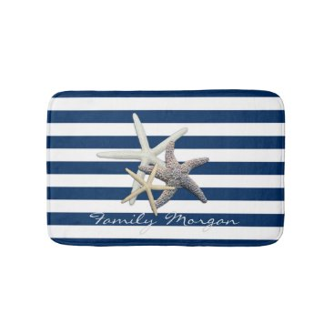 Beach Themed Adorable Starfish ,Navy Blue Stripes-Personalized Bath Mat