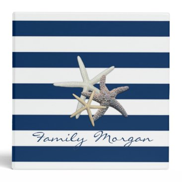Beach Themed Adorable Starfish ,Navy Blue Stripes-Personalized Binder