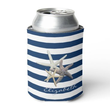 Beach Themed Adorable Starfish ,Navy Blue Stripes-Personalized Can Cooler