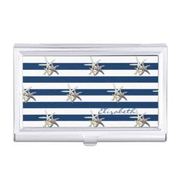 Beach Themed Adorable Starfish ,Navy Blue Stripes-Personalized Case For Business Cards
