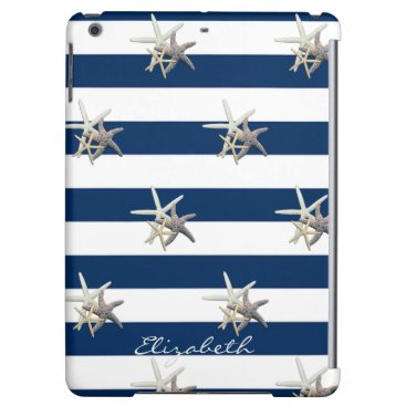 Adorable Starfish ,Navy Blue Stripes-Personalized Case For iPad Air