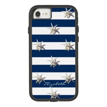 Beach Themed Adorable Starfish ,Navy Blue Stripes-Personalized Case-Mate Tough Extreme iPhone 7 Case