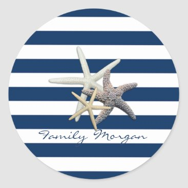 Beach Themed Adorable Starfish ,Navy Blue Stripes-Personalized Classic Round Sticker